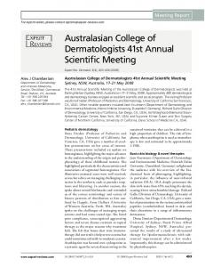 Australasian College of Dermatologists 41st Annual Scientific Meeting