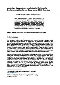Australian Class Actions as a Potential Motivator for Environmental ...