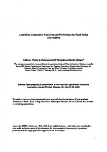 Australian Consumers' Concerns and Preferences ... - AgEcon Search