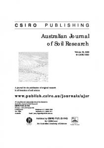 Australian Journal of Soil Research - CSIRO Publishing