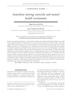 Australian nursing curricula and mental health ... - Wiley Online Library