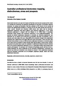 Australian professional doctorates - Work Based Learning e-Journal ...