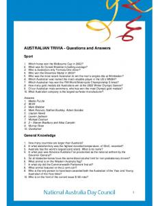 AUSTRALIAN TRIVIA - Questions and Answers - Australia Day