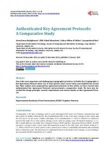 Authenticated Key Agreement Protocols - Scientific Research Publishing