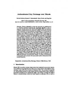 Authenticated Key Exchange over Bitcoin - Cryptology ePrint Archive