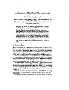 Authenticated Multi-Party Key Agreement - Semantic Scholar