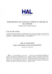 Authentication and consensus overhead in vehicular ad hoc networks