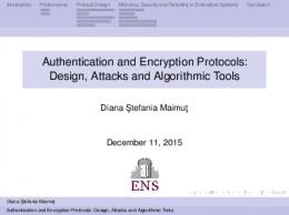 Authentication and Encryption Protocols: Design ...