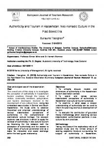 Authenticity and Tourism in Kazakhstan: Neo-nomadic Culture ... - Core