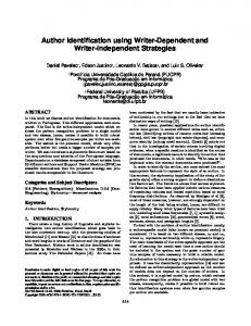 Author Identification using Writer-Dependent and Writer-Independent ...