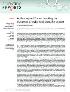 Author Impact Factor: tracking the dynamics of individual scientific impact