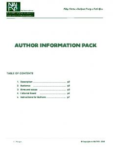 author information pack