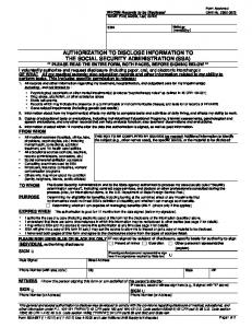 Authorization to Disclose information to Social Security Administration