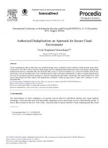 Authorized Deduplication: An Approach for Secure ...