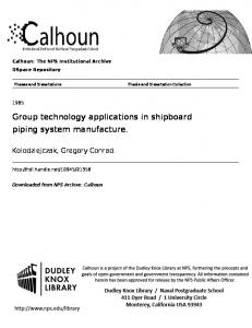 Author(s) Kolodziejczak, Gregory Conrad. Title Group technology ...