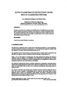auto claim fraud detection using multi classifier system - AIRCC