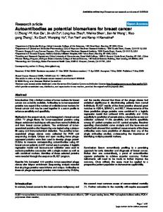 Autoantibodies as potential biomarkers for breast ... - BioMedSearch