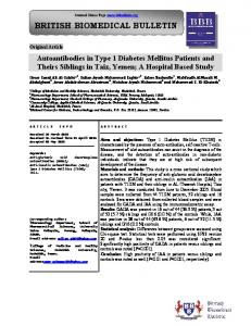 Autoantibodies in Type 1 Diabetes Mellitus Patients and ... - iMedpub