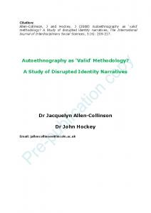Autoethnography as - Core