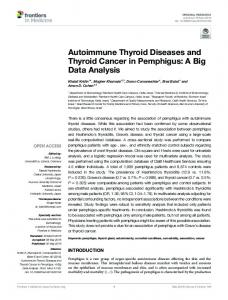Autoimmune Thyroid Diseases and Thyroid Cancer in ...