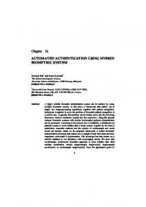 AUTOMATED AUTHENTICATION USING HYBRID BIOMETRIC SYSTEM