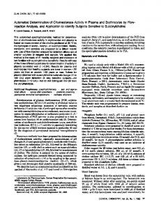 Automated Determinationof CholinesteraseActivityin Plasma and ...