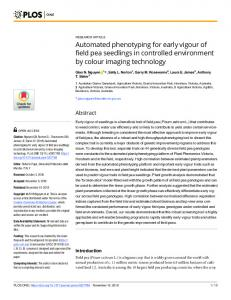 Automated phenotyping for early vigour of field pea seedlings in ... - Plos