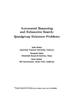 Automated Reasoning and Exhaustive Search ... - Semantic Scholar