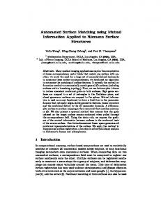 Automated Surface Matching using Mutual Information ... - CiteSeerX