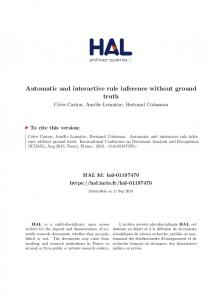 Automatic and interactive rule inference without ground truth - HAL-Inria