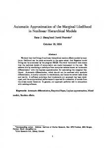 Automatic Approximation of the Marginal ... - Semantic Scholar