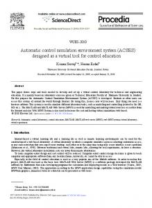 Automatic control simulation environment system (ACSES ... - Core
