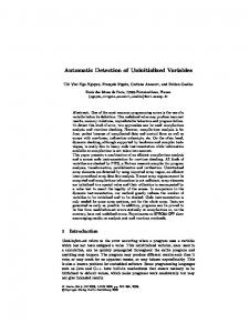 Automatic Detection of Uninitialized Variables - Springer Link