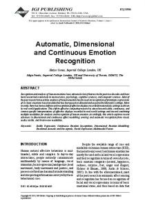 automatic, dimensional and Continuous Emotion recognition - iBUG