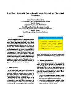 Automatic Extraction of Protein Names from ... - Semantic Scholar