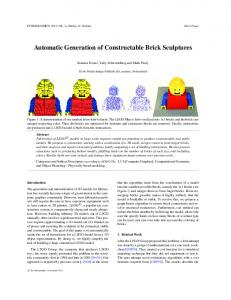 Automatic Generation of Constructable Brick Sculptures - LGG, EPFL