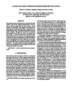 AUTOMATIC LEXICAL PRONUNCIATIONS GENERATION AND ...