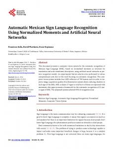 Automatic Mexican Sign Language Recognition Using Normalized ...