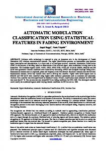 AUTOMATIC MODULATION CLASSIFICATION ... - Ijareeie.com