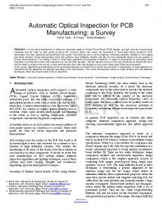 Automatic Optical Inspection for PCB Manufacturing: a ...