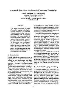 Automatic Rewriting for Controlled Language ... - Semantic Scholar