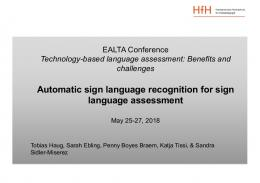 Automatic sign language recognition for sign ...