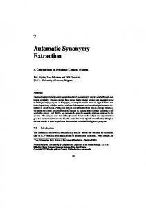 Automatic Synonymy Extraction