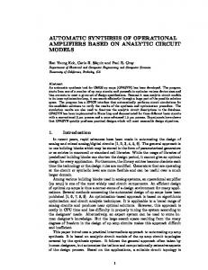 automatic synthesis of operational amplifiers based on analytic circuit ...
