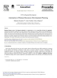 Automation of Human Resources Development Planning - ScienceDirect