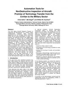 Automation Tools for NonDestructive Inspection of Aircraft: Promise of ...