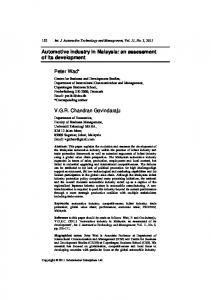 Automotive industry in Malaysia - CiteSeerX
