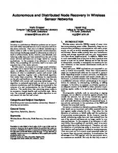 Autonomous and Distributed Node Recovery in ... - Semantic Scholar