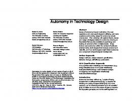 Autonomy in Technology Design