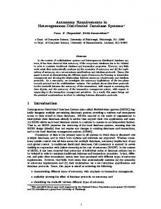 Autonomy Requirements in Heterogeneous Distributed ... - CiteSeerX